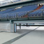 roller shutters by milex in a stadium