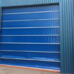 bright blue ocm doors installed by milex