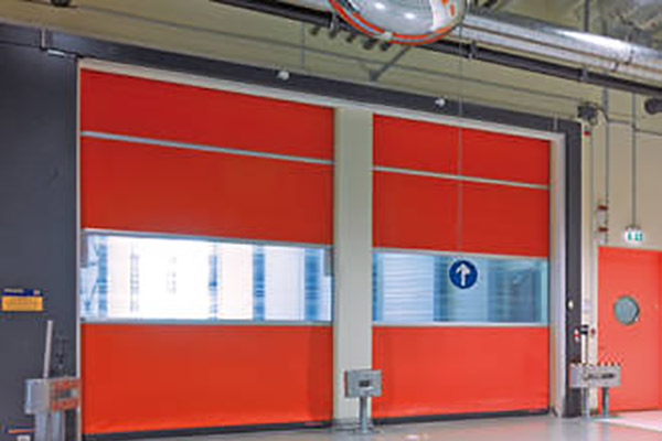 inside view of a warehouses felt roller shutters with a clear patch in the middle for optimum safety