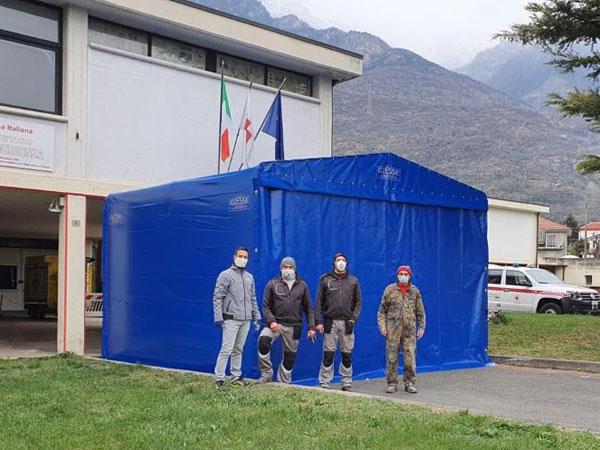 blue temporary coronavirus shelter