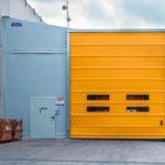Yellow high speed fold up Giesse door