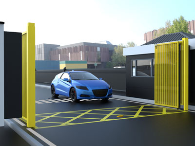 Yellow Multifolding Gates Open