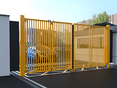Yellow Multifolding Gates Part Closed 2
