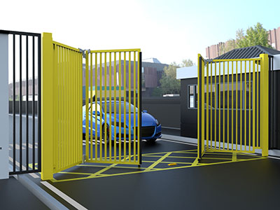 Yellow Multifolding Gates Part Open